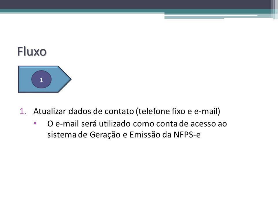 Fluxo 1.Atualizar dados de contato (telefone fixo e e-mail) O e-mail será utilizado como conta de acesso ao sistema de Geração e Emissão da NFPS-e 1