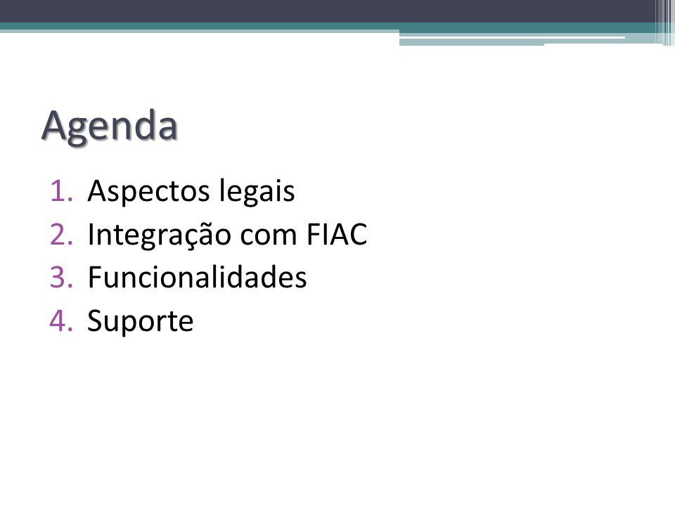 Agenda 1.Aspectos legais 2.Integração com FIAC 3.Funcionalidades 4.Suporte