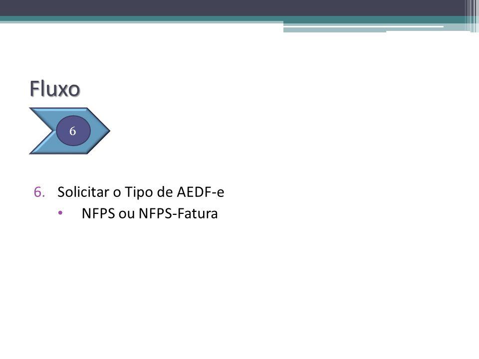 Fluxo 6.Solicitar o Tipo de AEDF-e NFPS ou NFPS-Fatura 6
