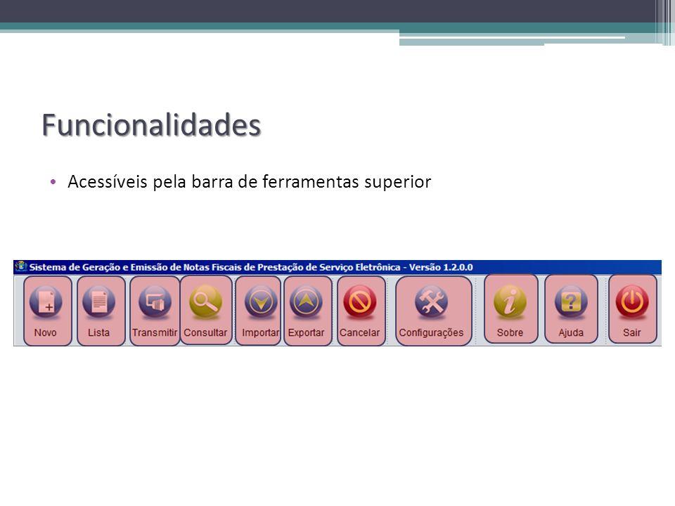 Funcionalidades Acessíveis pela barra de ferramentas superior