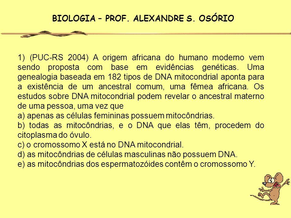 1) (PUC-RS 2004) A origem africana do humano moderno vem sendo proposta com base em evidências genéticas. Uma genealogia baseada em 182 tipos de DNA m