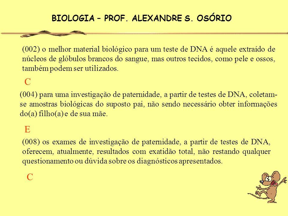 BIOLOGIA – PROF. ALEXANDRE S. OSÓRIO (002) o melhor material biológico para um teste de DNA é aquele extraído de núcleos de glóbulos brancos do sangue