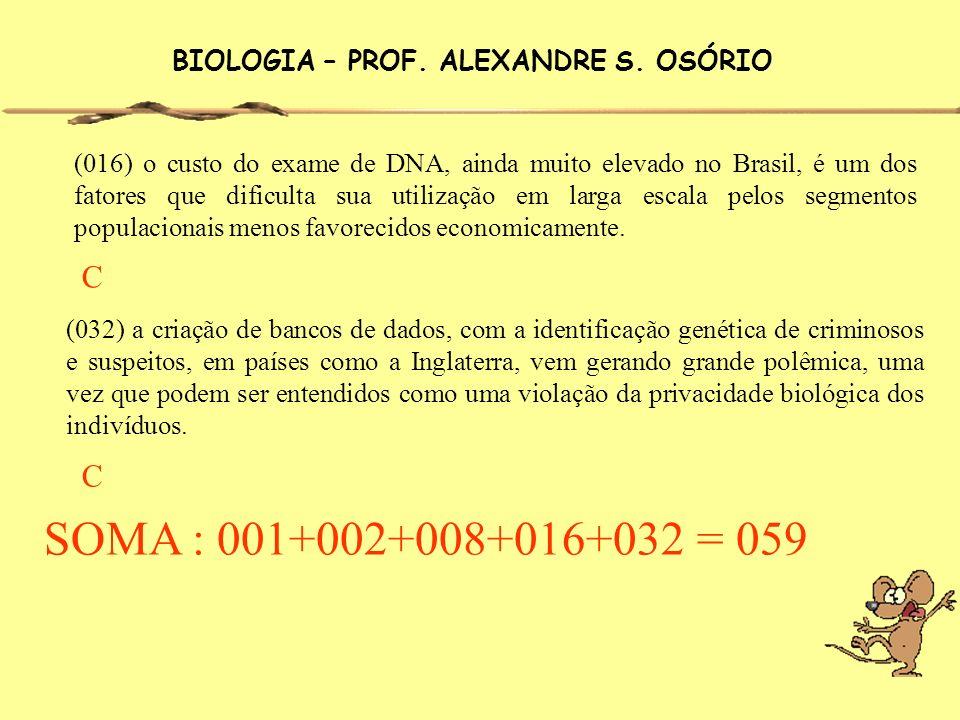 BIOLOGIA – PROF. ALEXANDRE S. OSÓRIO (016) o custo do exame de DNA, ainda muito elevado no Brasil, é um dos fatores que dificulta sua utilização em la