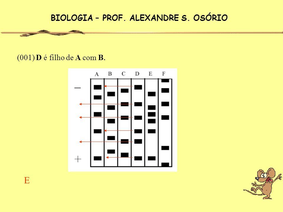 (001) D é filho de A com B. BIOLOGIA – PROF. ALEXANDRE S. OSÓRIO E