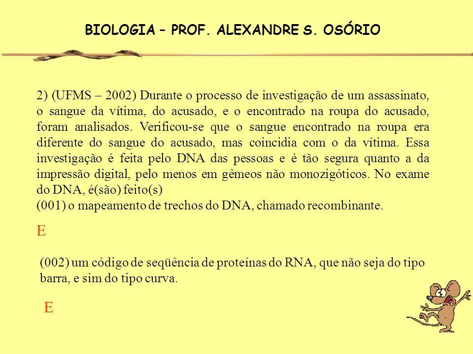 BIOLOGIA – PROF. ALEXANDRE S. OSÓRIO 2) (UFMS – 2002) Durante o processo de investigação de um assassinato, o sangue da vítima, do acusado, e o encont