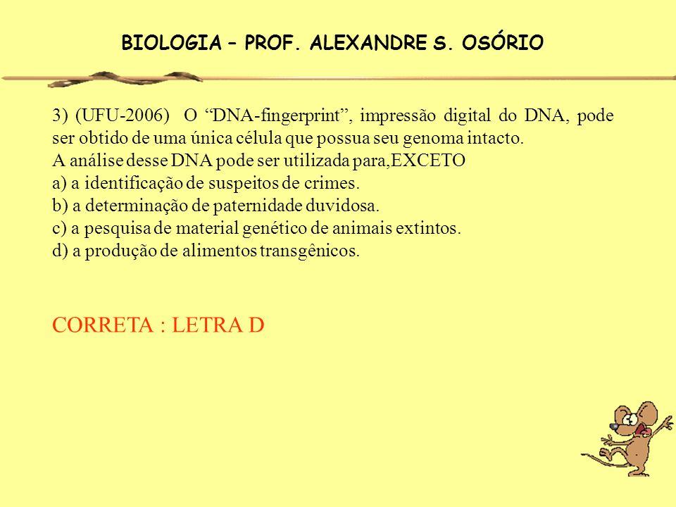 BIOLOGIA – PROF. ALEXANDRE S. OSÓRIO 3) (UFU-2006) O DNA-fingerprint, impressão digital do DNA, pode ser obtido de uma única célula que possua seu gen