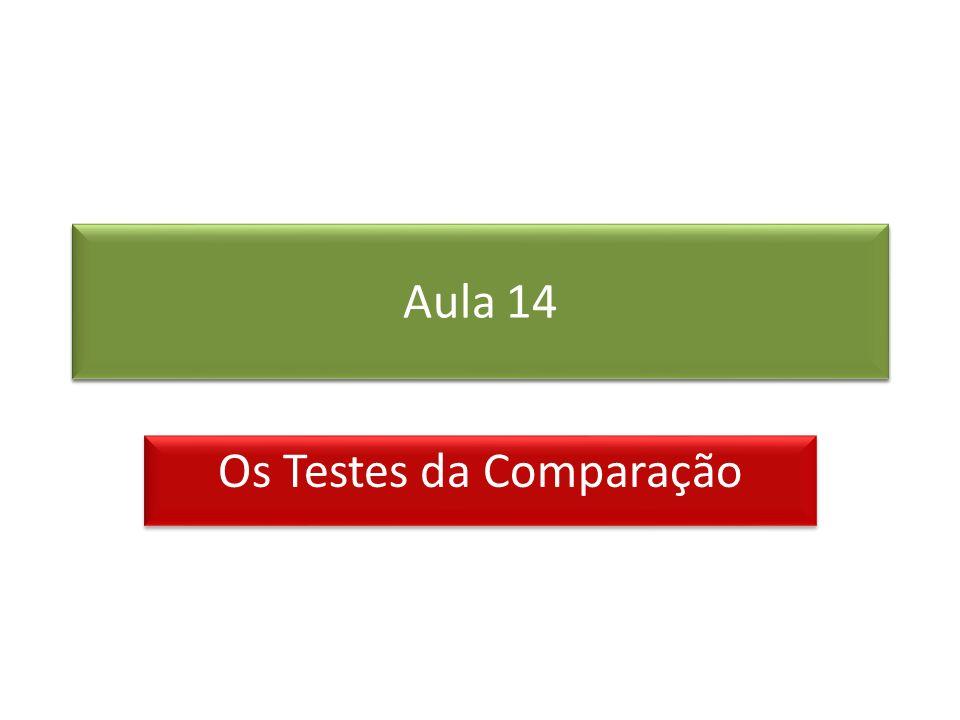 Prof. Roberto Cristóvão robertocristovao@gmail.com Aula 14 Os Testes da Comparação