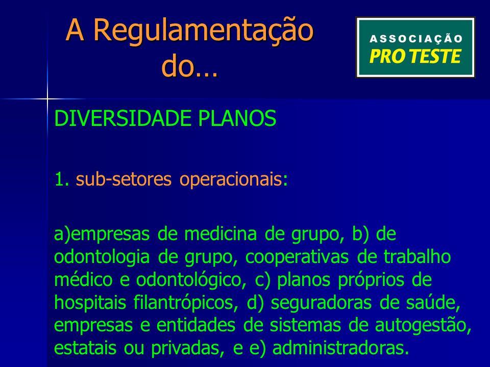 A Regulamentação do… DIVERSIDADE PLANOS 1.