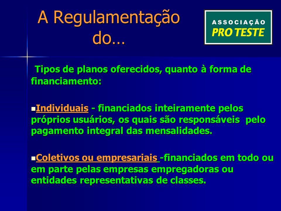 A Regulamentação do… Tipos de planos oferecidos, quanto à forma de financiamento: Tipos de planos oferecidos, quanto à forma de financiamento: Individuais - financiados inteiramente pelos próprios usuários, os quais são responsáveis pelo pagamento integral das mensalidades.
