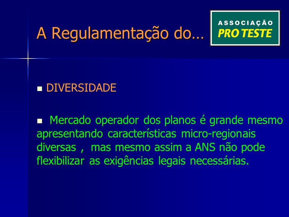 A Regulamentação do… DIVERSIDADE Mercado operador dos planos é grande mesmo apresentando características micro-regionais diversas, mas mesmo assim a ANS não pode flexibilizar as exigências legais necessárias.