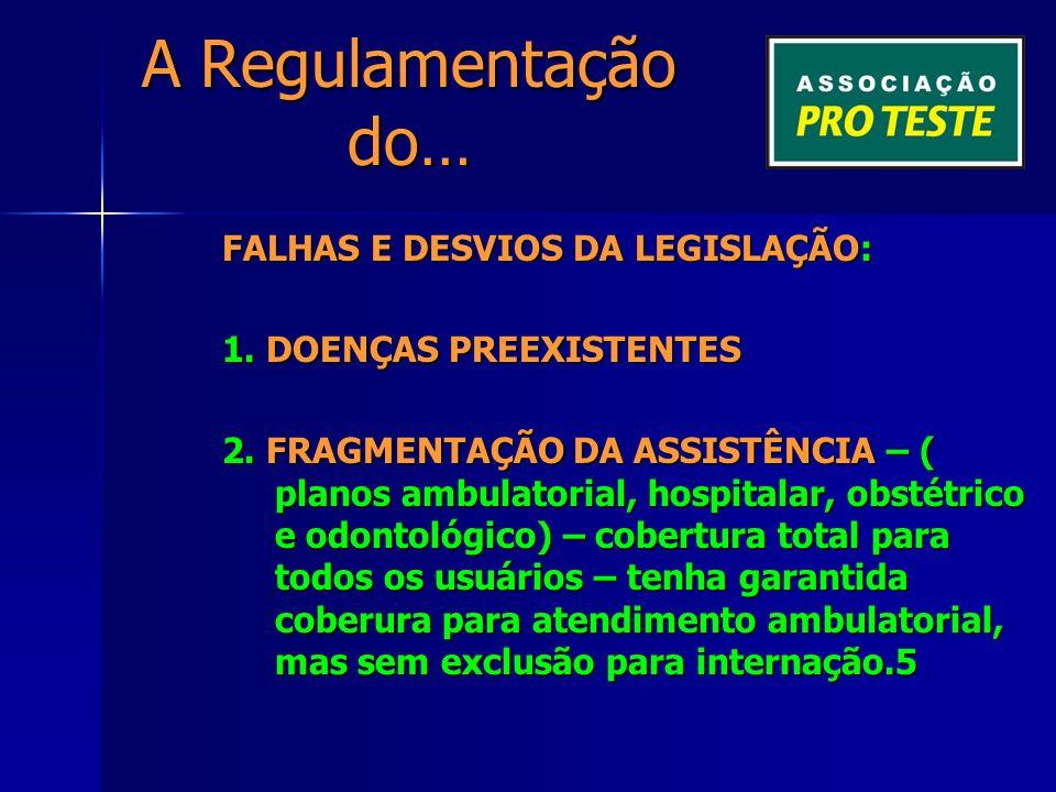 A Regulamentação do… FALHAS E DESVIOS DA LEGISLAÇÃO: 1.