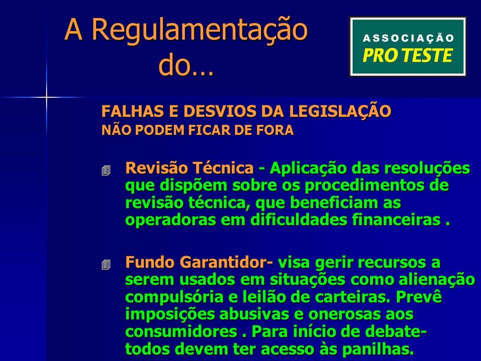 A Regulamentação do… FALHAS E DESVIOS DA LEGISLAÇÃO Política de reajuste – reajustes transparentes para o setor – média de reajustes dos planos coletivos, com e sem patrocinador, acrescidos de 0,25% do IPCA para despesas administrativas.