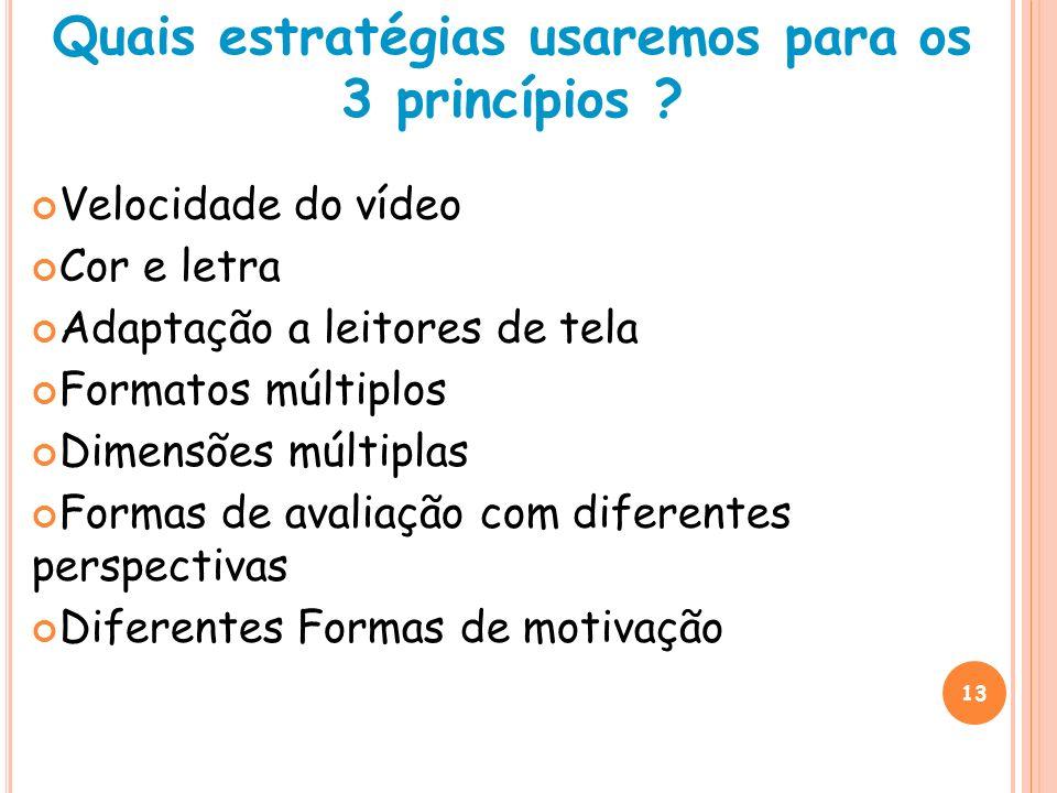 13 Quais estratégias usaremos para os 3 princípios ? Velocidade do vídeo Cor e letra Adaptação a leitores de tela Formatos múltiplos Dimensões múltipl