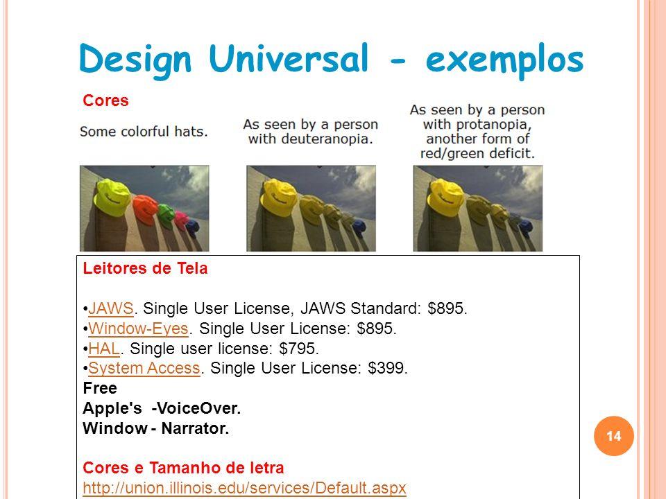 Design Universal - exemplos 14 Leitores de Tela JAWS. Single User License, JAWS Standard: $895.JAWS Window-Eyes. Single User License: $895.Window-Eyes
