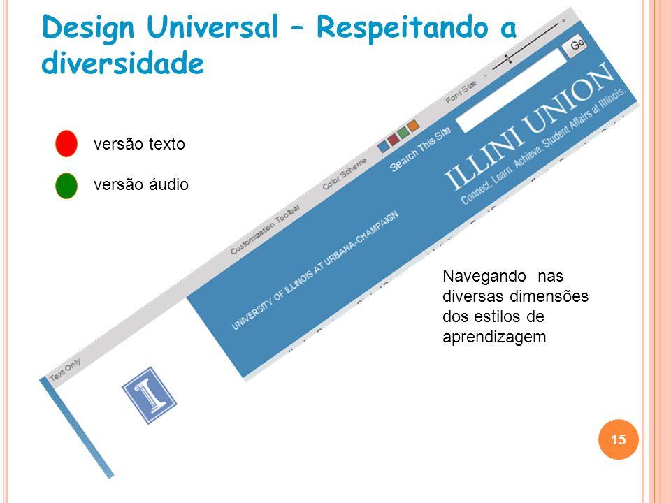 Design Universal – Respeitando a diversidade 15 versão texto versão áudio Navegando nas diversas dimensões dos estilos de aprendizagem