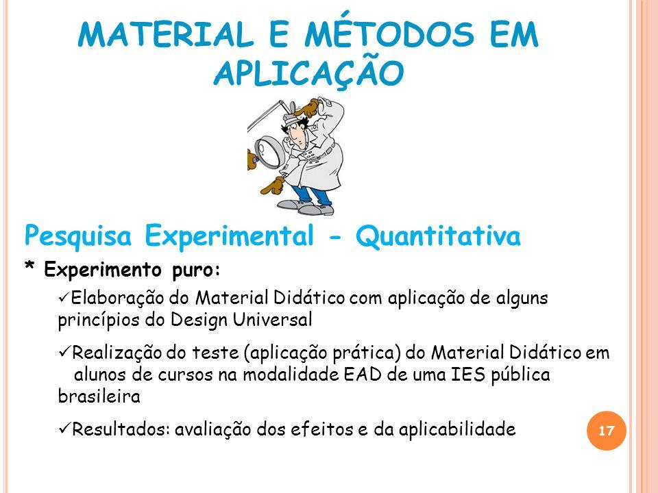 17 Pesquisa Experimental - Quantitativa * Experimento puro: Elaboração do Material Didático com aplicação de alguns princípios do Design Universal Rea