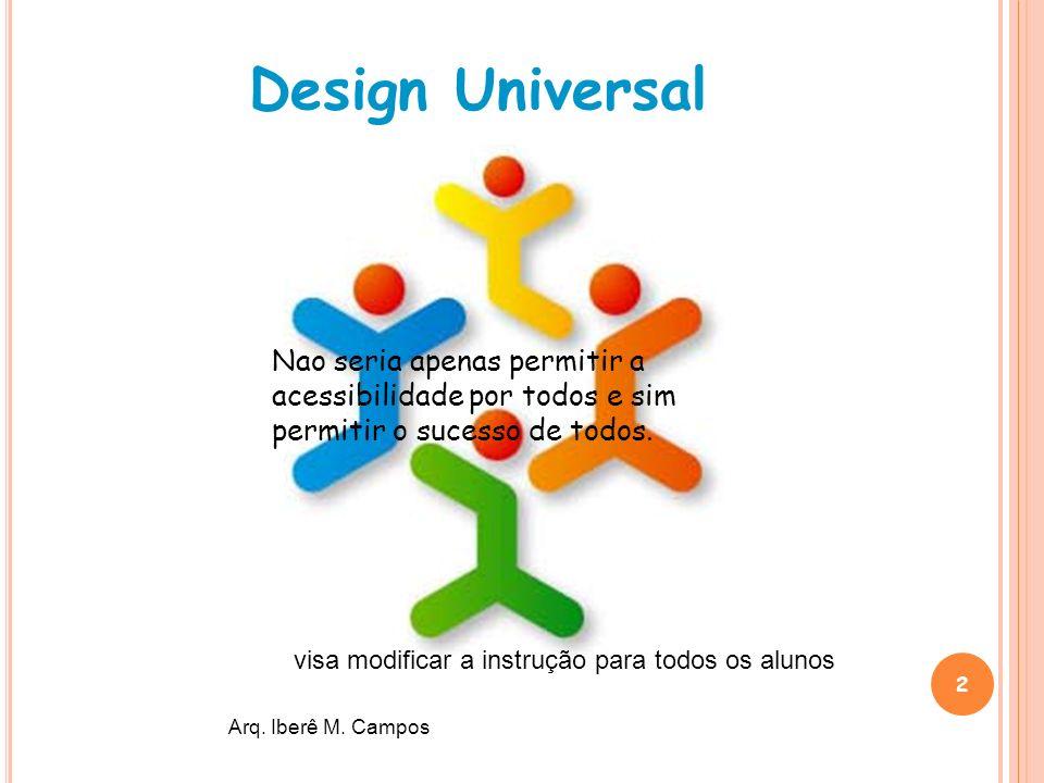 2 Design Universal Arq. Iberê M. Campos Nao seria apenas permitir a acessibilidade por todos e sim permitir o sucesso de todos. visa modificar a instr