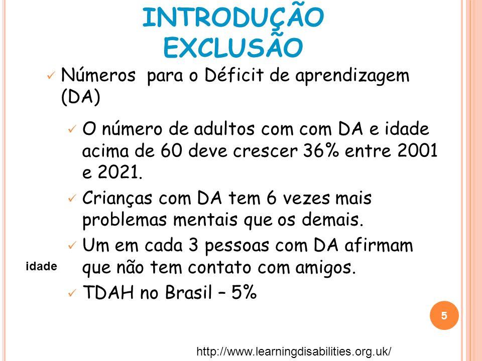 5 Números para o Déficit de aprendizagem (DA) O número de adultos com com DA e idade acima de 60 deve crescer 36% entre 2001 e 2021. Crianças com DA t