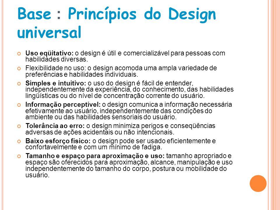 Base : Princípios do Design universal Uso eqüitativo: o design é útil e comercializável para pessoas com habilidades diversas. Flexibilidade no uso: o
