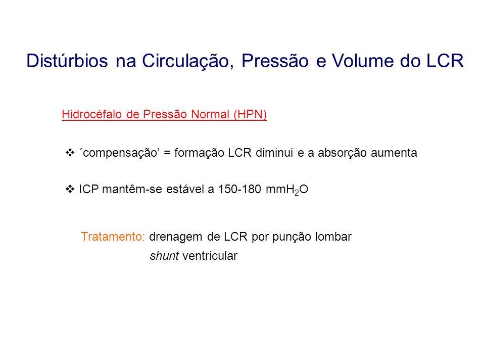 Hidrocéfalo de Pressão Normal (HPN) ´compensação = formação LCR diminui e a absorção aumenta ICP mantêm-se estável a 150-180 mmH 2 O Tratamento: drena