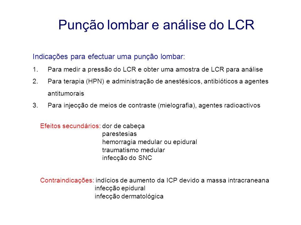 Punção lombar e análise do LCR Indicações para efectuar uma punção lombar: 1.Para medir a pressão do LCR e obter uma amostra de LCR para análise 2.Par