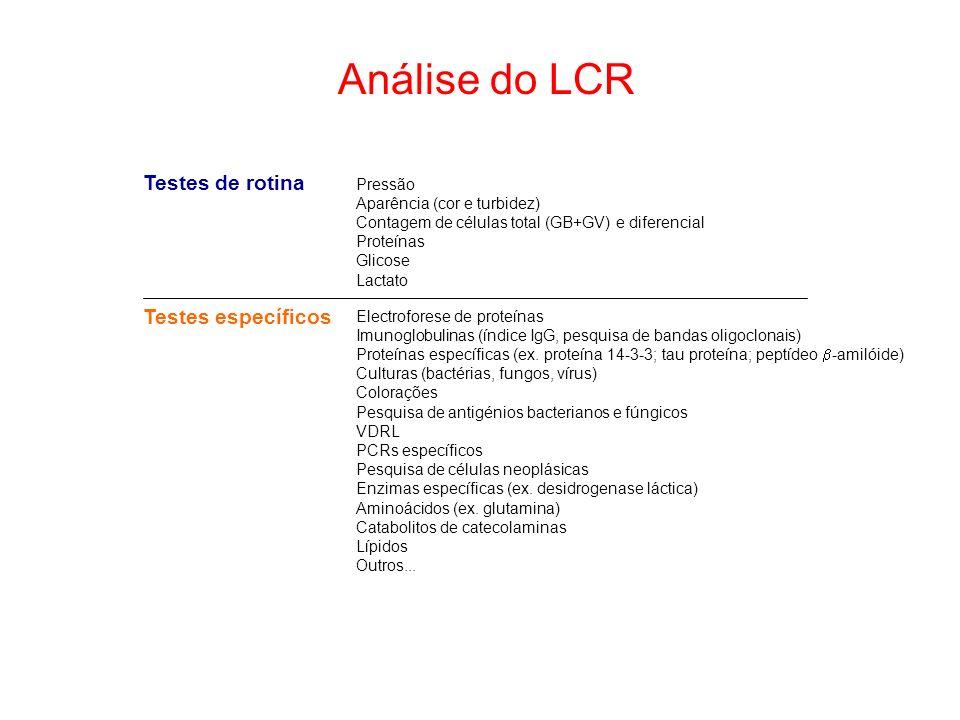 Análise do LCR Testes de rotina Testes específicos Pressão Aparência (cor e turbidez) Contagem de células total (GB+GV) e diferencial Proteínas Glicos