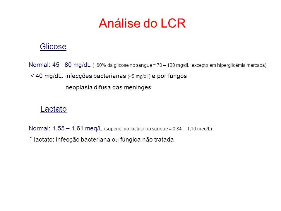Análise do LCR Glicose Normal: 45 - 80 mg/dL (~60% da glicose no sangue = 70 – 120 mg/dL; excepto em hiperglicémia marcada) < 40 mg/dL: infecções bact