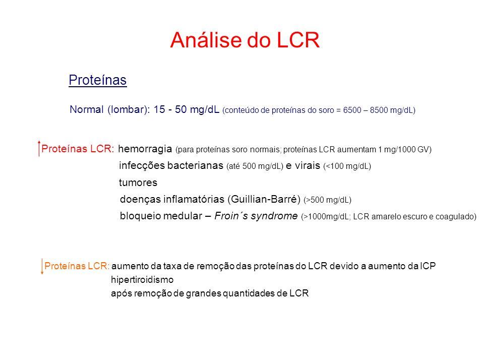 Análise do LCR Proteínas Normal (lombar): 15 - 50 mg/dL (conteúdo de proteínas do soro = 6500 – 8500 mg/dL) Proteínas LCR: hemorragia (para proteínas