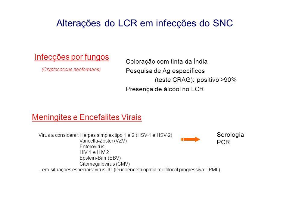 Alterações do LCR em infecções do SNC Infecções por fungos (Cryptococcus neoformans) Coloração com tinta da Índia Pesquisa de Ag específicos (teste CR