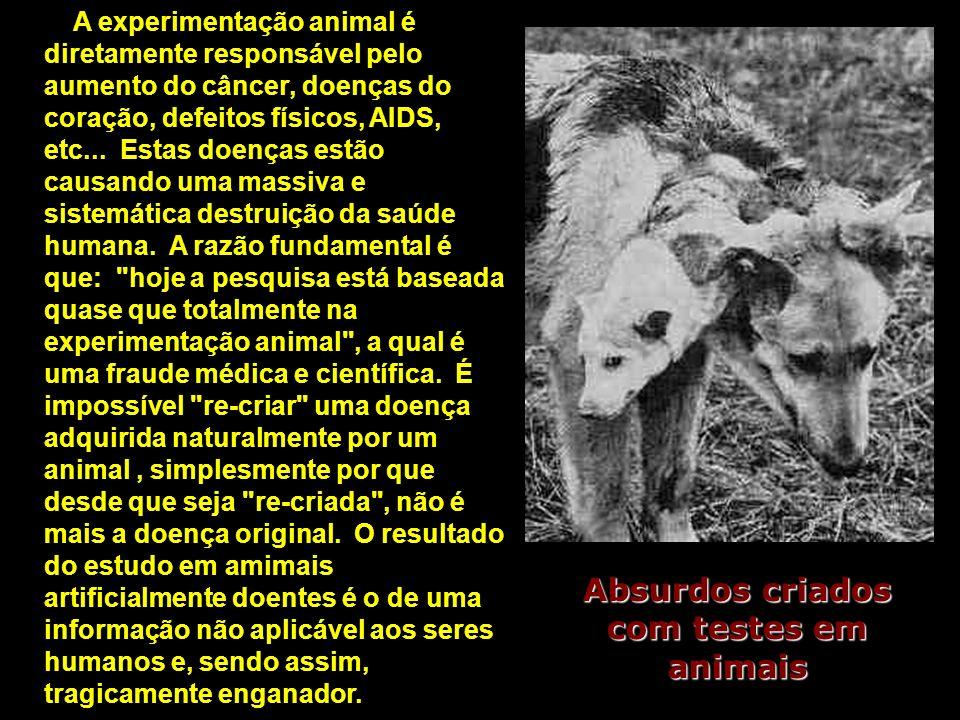 A experimentação animal é diretamente responsável pelo aumento do câncer, doenças do coração, defeitos físicos, AIDS, etc... Estas doenças estão causa