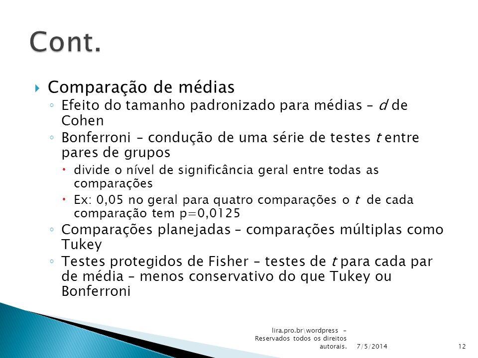 Comparação de médias Efeito do tamanho padronizado para médias – d de Cohen Bonferroni – condução de uma série de testes t entre pares de grupos divid