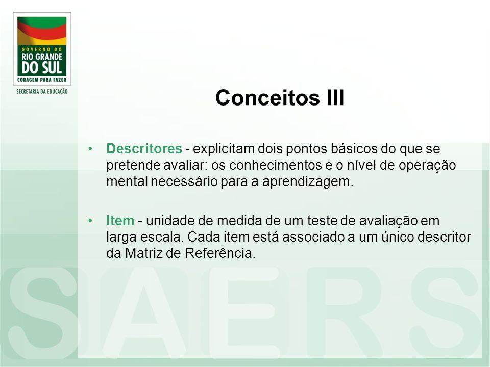 Conceitos III Descritores - explicitam dois pontos básicos do que se pretende avaliar: os conhecimentos e o nível de operação mental necessário para a