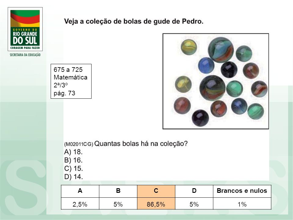 ABCDBrancos e nulos 2,5%5%86,5%5%1% 675 a 725 Matemática 2ª/3º pág. 73