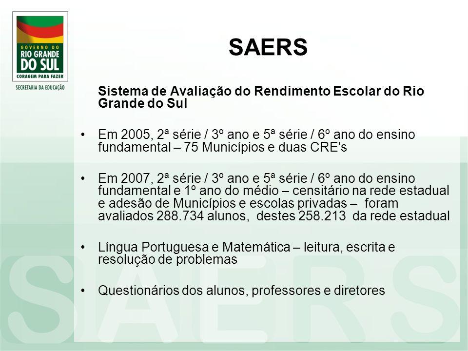 SAERS Sistema de Avaliação do Rendimento Escolar do Rio Grande do Sul Em 2005, 2ª série / 3º ano e 5ª série / 6º ano do ensino fundamental – 75 Municí