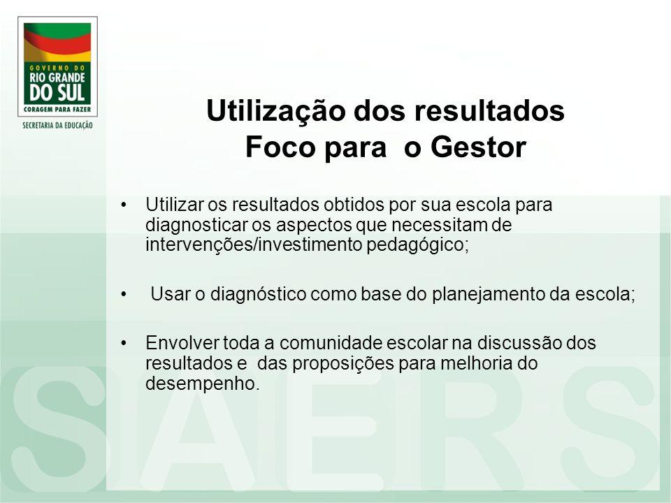 Utilização dos resultados Foco para o Gestor Utilizar os resultados obtidos por sua escola para diagnosticar os aspectos que necessitam de intervençõe