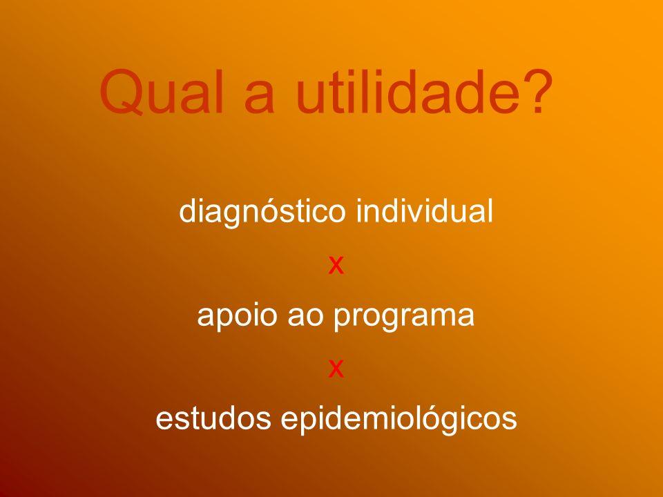 Qual a utilidade? diagnóstico individual x apoio ao programa x estudos epidemiológicos