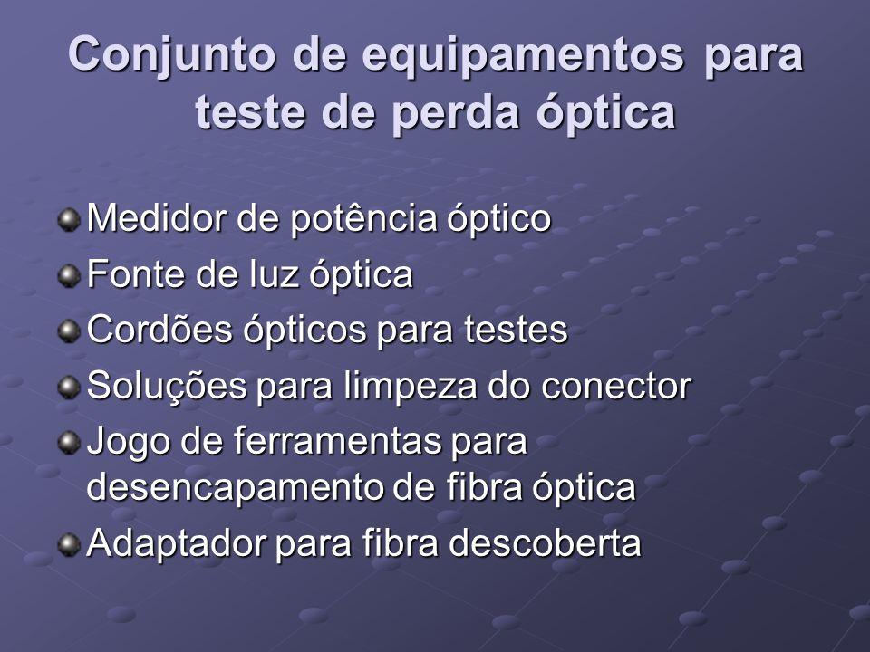 Conjunto de equipamentos para teste de perda óptica Medidor de potência óptico Fonte de luz óptica Cordões ópticos para testes Soluções para limpeza d