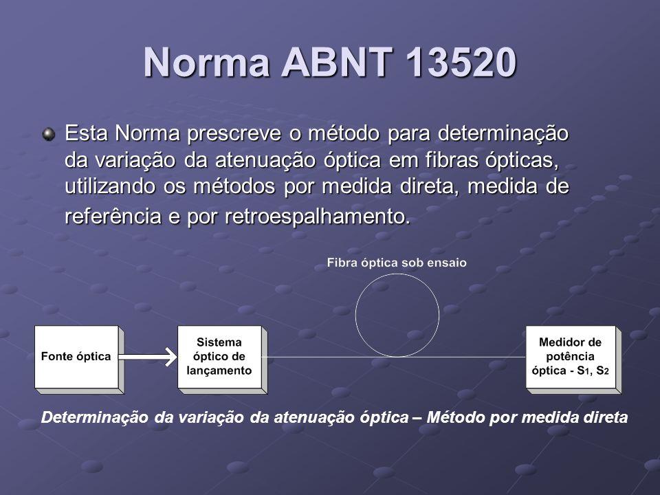 Norma ABNT 13520 Esta Norma prescreve o método para determinação da variação da atenuação óptica em fibras ópticas, utilizando os métodos por medida d