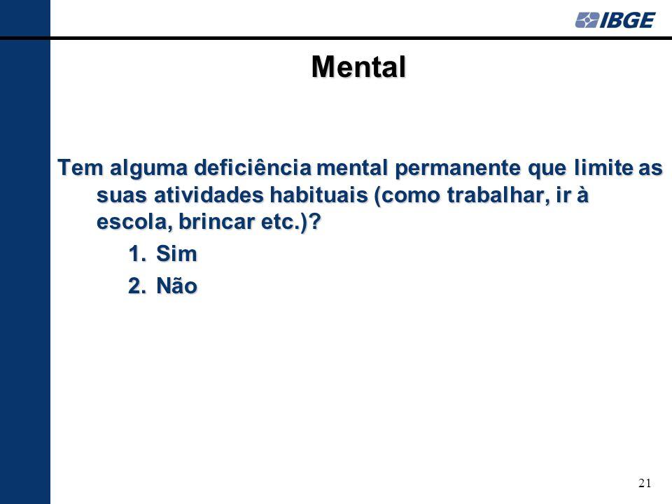 Mental Tem alguma deficiência mental permanente que limite as suas atividades habituais (como trabalhar, ir à escola, brincar etc.)? 1. Sim 2. Não 21