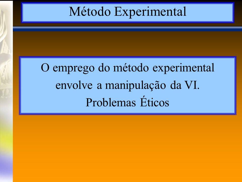 A Lógica do Método Experimental Necessidade de pelo menos dois grupos Uma mesma população Grupo experimental Grupo controle Resultado Os sujeitos são escolhidos aleatoriamente VI X VD GE Comparar resultados VD GC