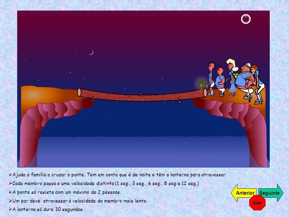 Ajuda a familia a cruzar a ponte. Tem em conta que é de noite e têm a lanterna para atravessar. Cada membro passa a uma velocidade distinta (1 seg., 3