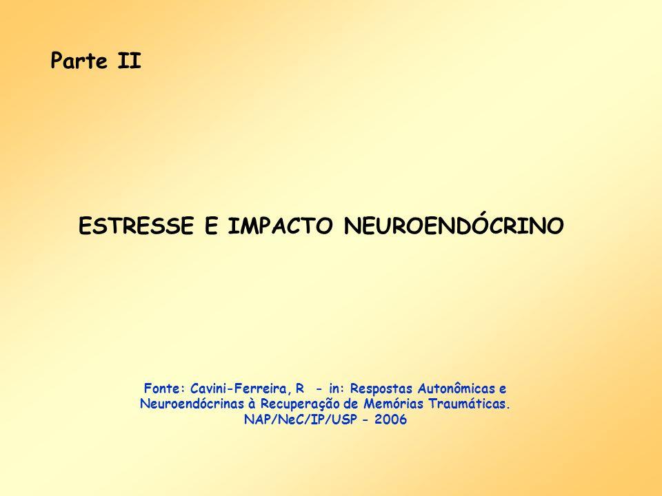 Parte II ESTRESSE E IMPACTO NEUROENDÓCRINO Fonte: Cavini-Ferreira, R - in: Respostas Autonômicas e Neuroendócrinas à Recuperação de Memórias Traumátic