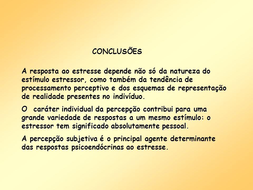 A resposta ao estresse depende não só da natureza do estímulo estressor, como também da tendência de processamento perceptivo e dos esquemas de repres