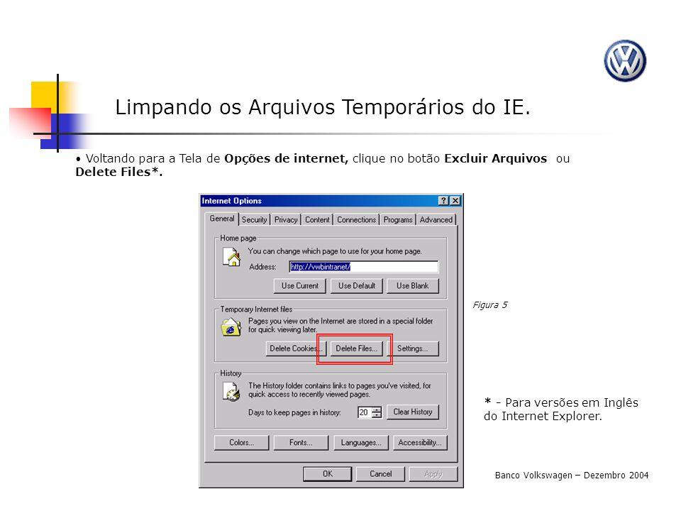 Limpando os Arquivos Temporários do IE. Voltando para a Tela de Opções de internet, clique no botão Excluir Arquivos ou Delete Files*. Figura 5 Banco