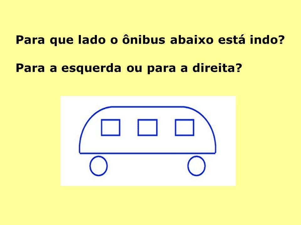 Para que lado o ônibus abaixo está indo? Para a esquerda ou para a direita?