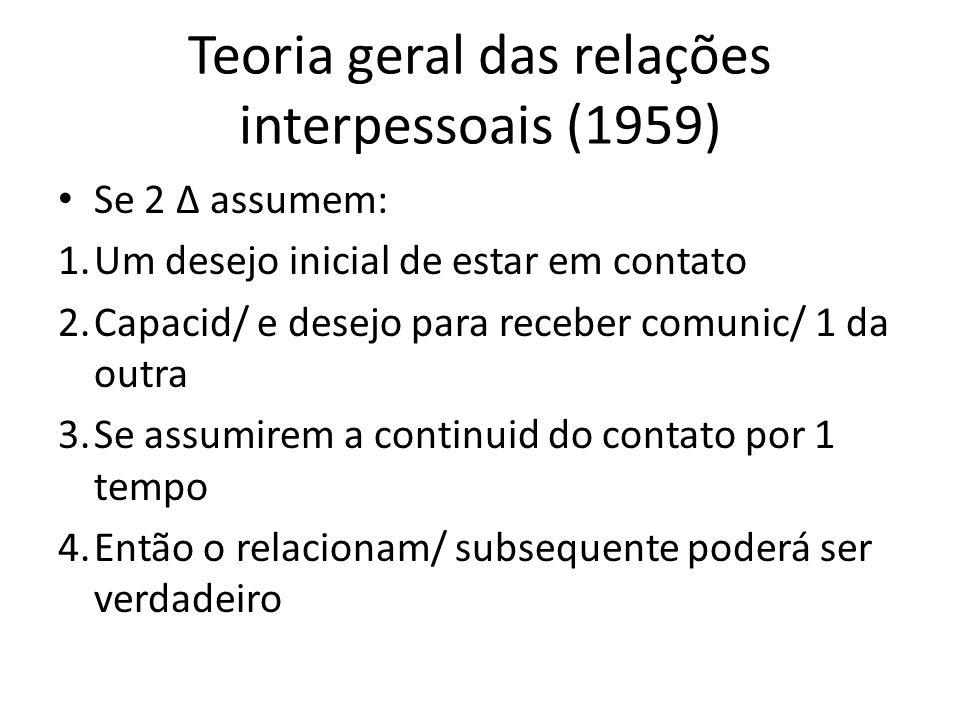 Teoria geral das relações interpessoais (1959) Se 2 Δ assumem: 1.Um desejo inicial de estar em contato 2.Capacid/ e desejo para receber comunic/ 1 da outra 3.Se assumirem a continuid do contato por 1 tempo 4.Então o relacionam/ subsequente poderá ser verdadeiro