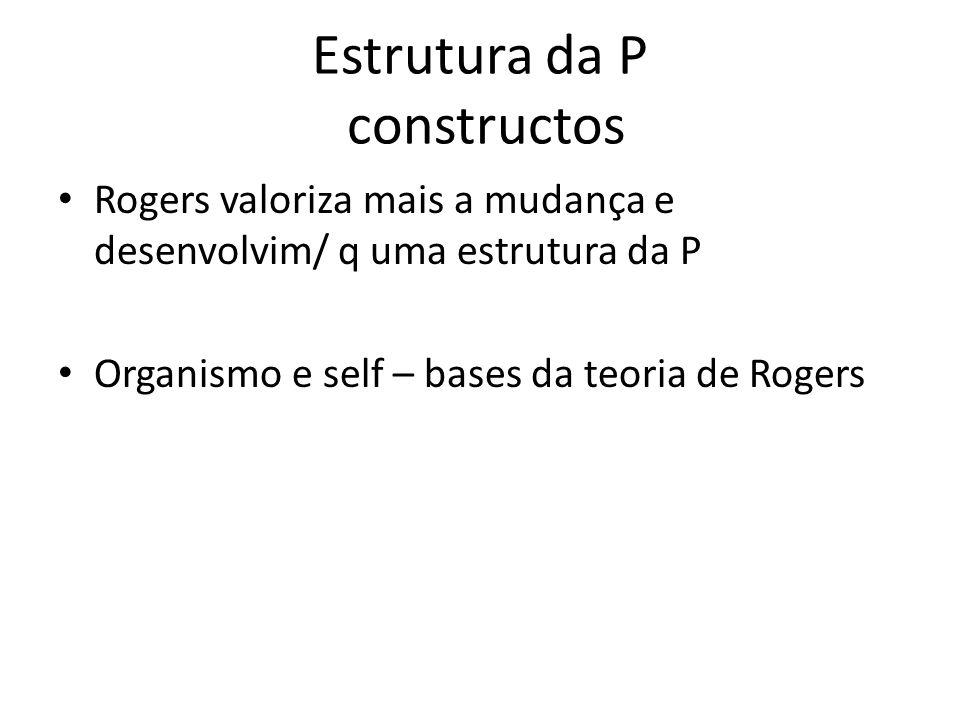 Estrutura da P constructos Rogers valoriza mais a mudança e desenvolvim/ q uma estrutura da P Organismo e self – bases da teoria de Rogers