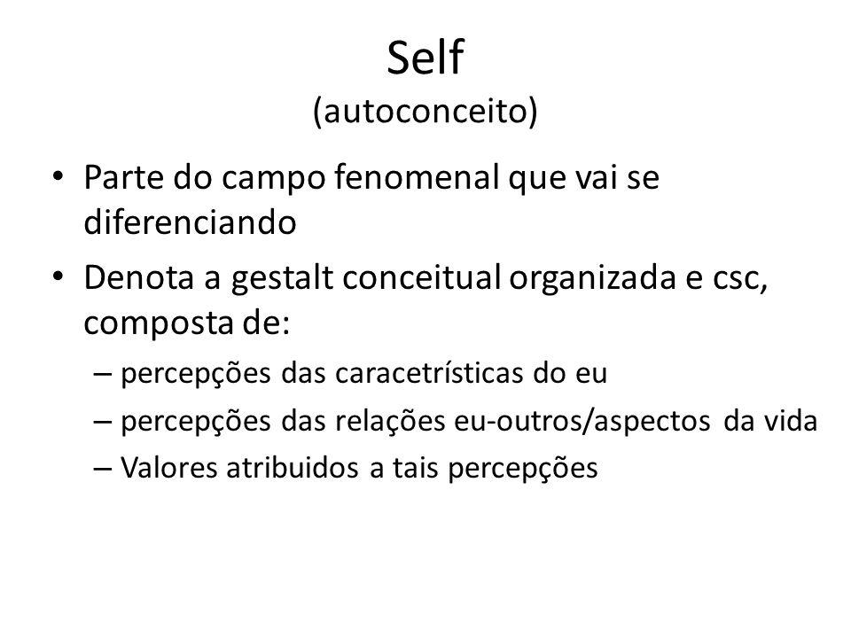 Self (autoconceito) Parte do campo fenomenal que vai se diferenciando Denota a gestalt conceitual organizada e csc, composta de: – percepções das caracetrísticas do eu – percepções das relações eu-outros/aspectos da vida – Valores atribuidos a tais percepções