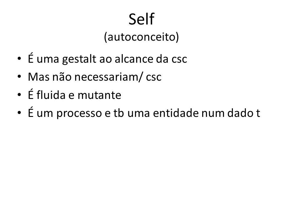 Self (autoconceito) É uma gestalt ao alcance da csc Mas não necessariam/ csc É fluida e mutante É um processo e tb uma entidade num dado t
