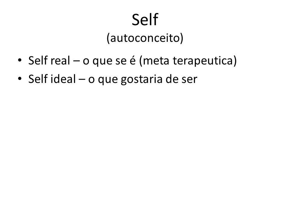 Self (autoconceito) Self real – o que se é (meta terapeutica) Self ideal – o que gostaria de ser